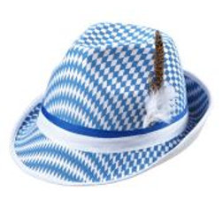 """BAVARIAN FLAG FEDORA WITH FEATHERS"" W 0062B"