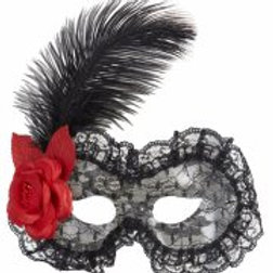 BLACK LACE EYEMASKS WITH ROSE & FEATHER (1786P)
