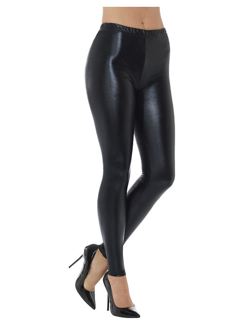 80s Metallic Disco Leggings, Black. 48106 S