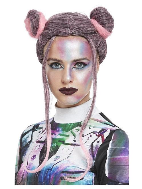 Space Buns Wig, Black & Pink. 27703 Smiffys