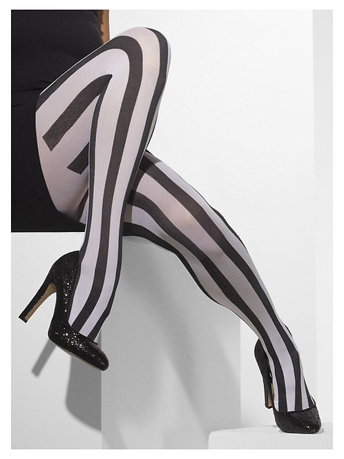 Opaque Tights, Black & White, Vertical Stripes. 24549 S