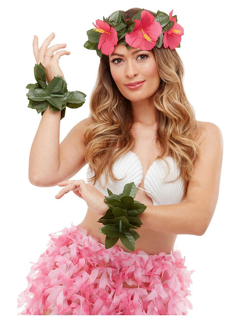Hawaiian Luau Tiki Kit, Green & Pink, with Floral Headband & 2 Anklets. 51034 S