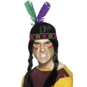Native American Inspired Feathered Headband, Multi-Coloured 22291 S
