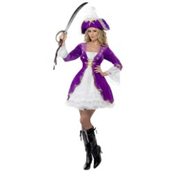 Purple Pirate Beauty Costume, With Dress and Hat SKU: 22643
