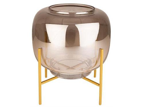 Lyslykt/glassbolle m/gullstativ 21x23cm Varenr:109510