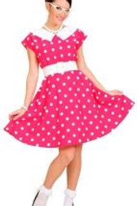 """50s LADY WITH SEWN-IN PETTICOAT"" pink (dress, belt). 58311 W"