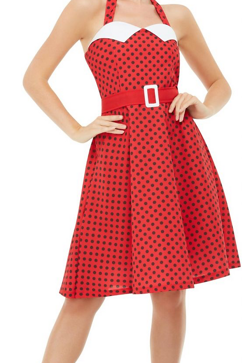 50s Rockabilly Pin Up Costume, Red, with Halterneck Swing Dress 51039 S