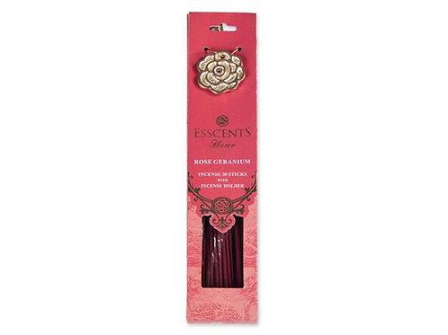 Røkelsespinner 30stk m/holder Rose geranium