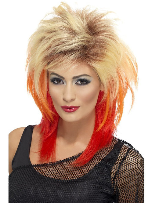 80s Mullet Wig, Blonde with Red Streaks. 43245 Smiffys