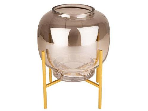 Lyslykt/glassbolle m/gullstativ 17x21cm Varenr: 109509