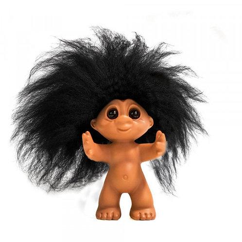 RUBBER LOOK/BLACK HAIR, 9 CM, GOODLUCK Troll
