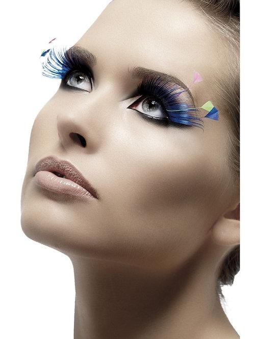 Eyelashes, Blue, with Feather Plumes.?34990 Smiffys
