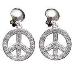 """STRASS PEACE & LOVE EARRINGS"""" 7539E W"""