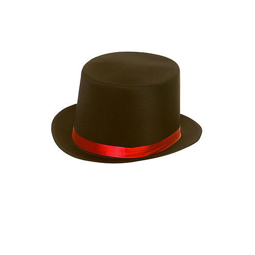 Satin Top Hat w/Red Satin Band. AC-9740 Wicked
