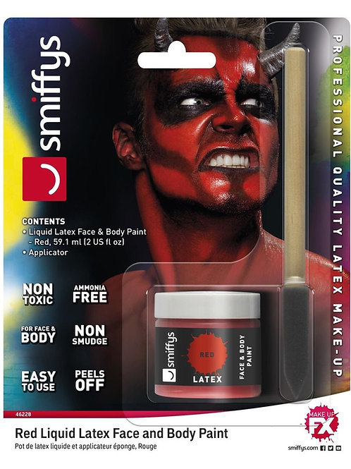 Smiffys Make-Up FX, Red Liquid Latex Kit, with Pot. 46228 S