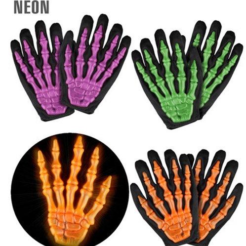 "NEON 3D SKELETON GLOVES"" 3 colorsass.- child size. 8409N Widmann"
