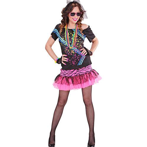 """""""80's ROCK GIRL"""" (T-shirt, skirt, fingerless fishnet gloves, lace hair tie)"""