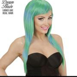 """GREEN-BLUE MELANGE FASHION WIG"" in color ... W 04526"
