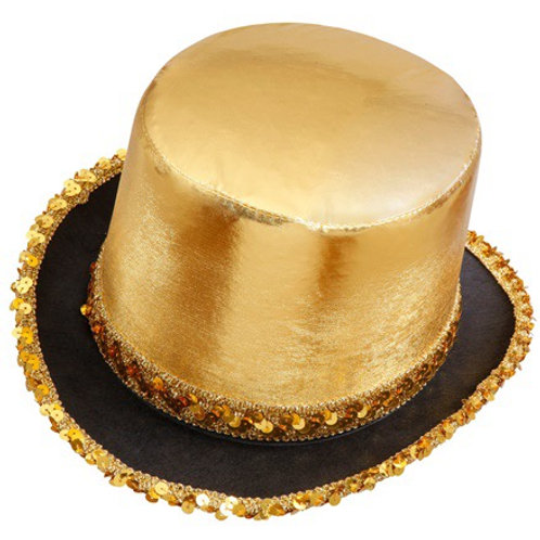 """GOLD LAMÉ TOP HAT WITH SEQUIN TRIM"""". 2586G Widmann"""