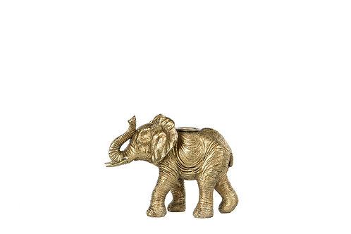 Lysestake Elefant Gull 14x7x11cm