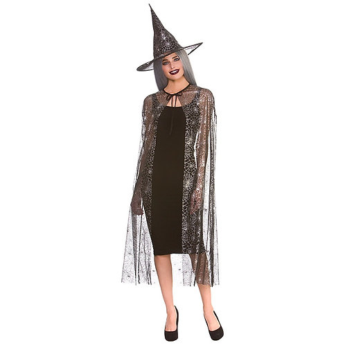 Shimmering Spider Web Witch Cape & hat 125cm. HF-5143 Wicked