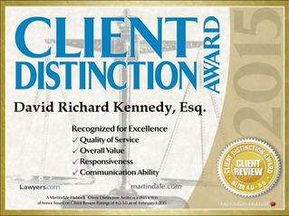 David Kennedy awarded the prestigious Martindale-Hubbell 2015 Client Distinction Award