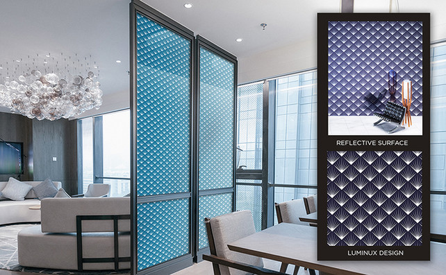 LUMINUX is an enormously creative way to spatially divide areas of a room.  All LUMINUX design offerings or your custom art can be incorporated into any setting.