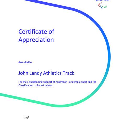 Australian Paralympic Sport - Certificate of Appreciation