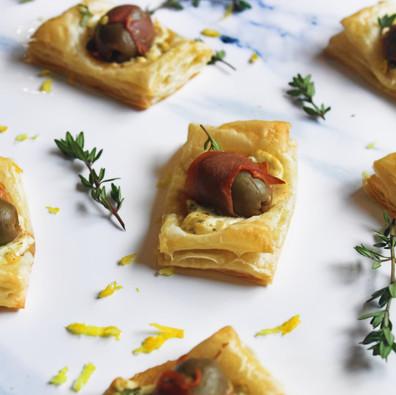 Mario Garlic Stuffed Olives and Goat Cheese Bites