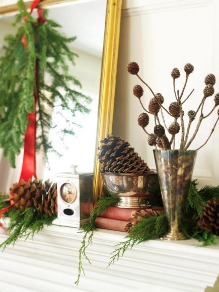 mantel mantle evergreens pine cones berries branches color theme ribbon bows