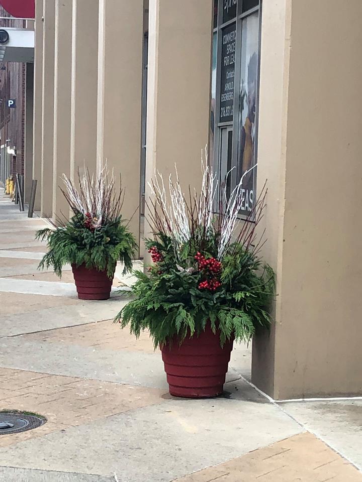 urban porch pots festive branches