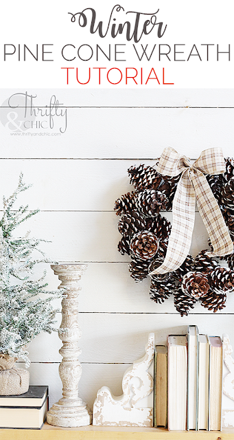 January DIY Winter Pine Cone Wreath Tutorial