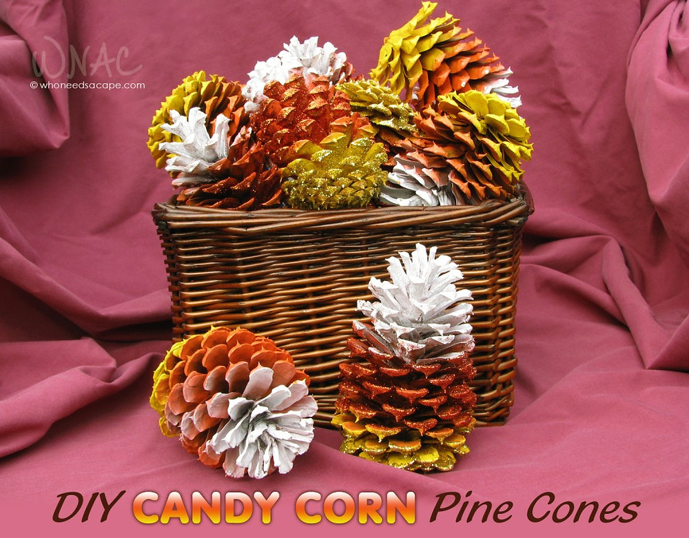 Candy Corn Pine Cones September Fall DIY Paint