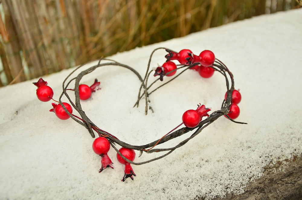 red berry heart winter