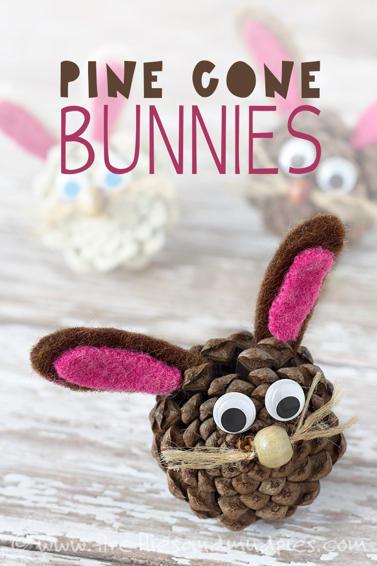 Pine Cone Bunnies Easter April Kids Craft