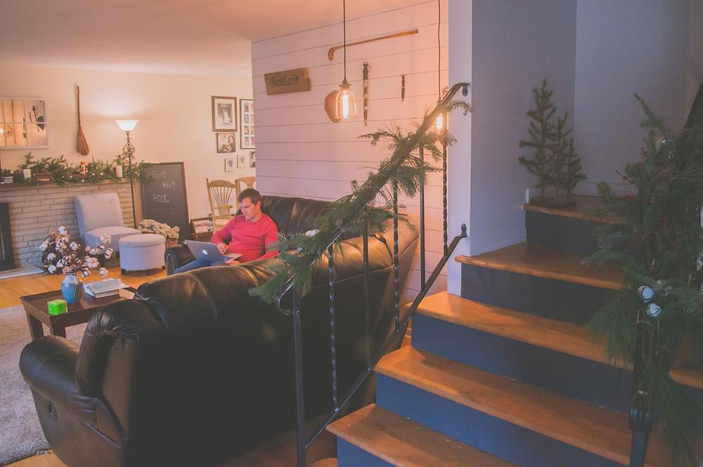 garland, roping, staircase, banister, Christmas