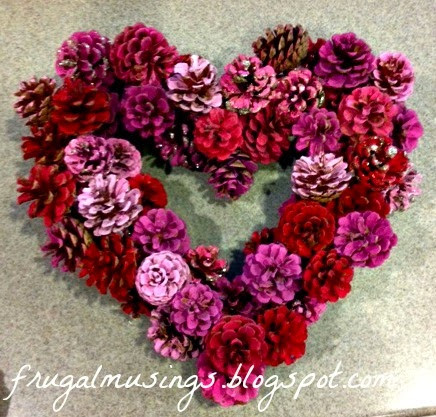 Valentine Wreath Pine Cones Red White Pink February