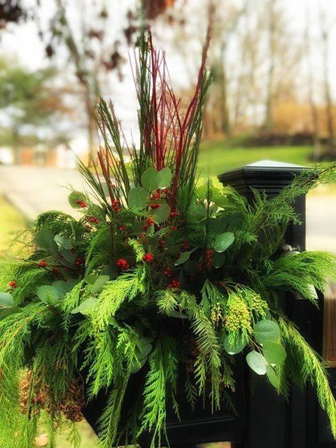 porch pots branches winter decor