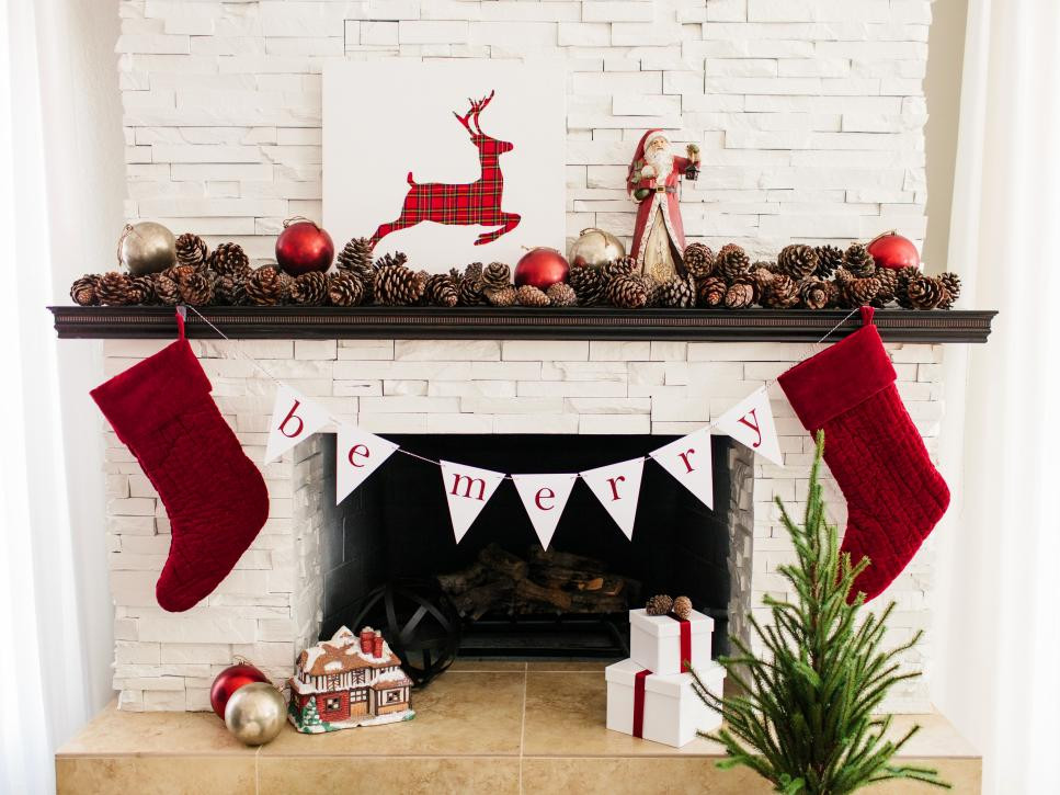 mantels mantles evergreens pine cones berries branches color theme ribbon bows