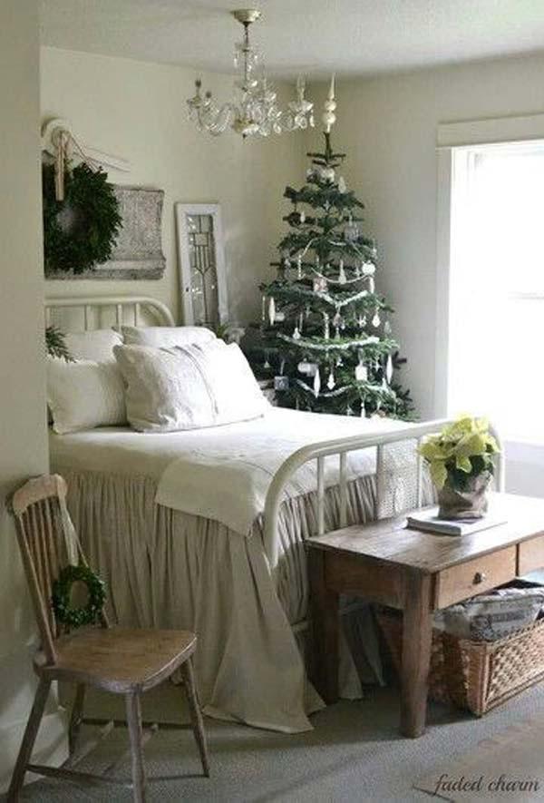 bedroom Christmas evergreens tree wreath