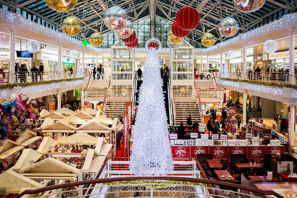 Black Friday mall shopping crazy frantic busy Christmas holidays