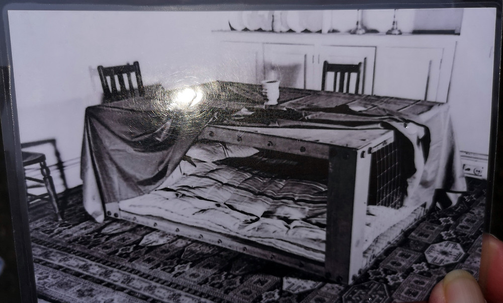 A table used as a shelter from bombs