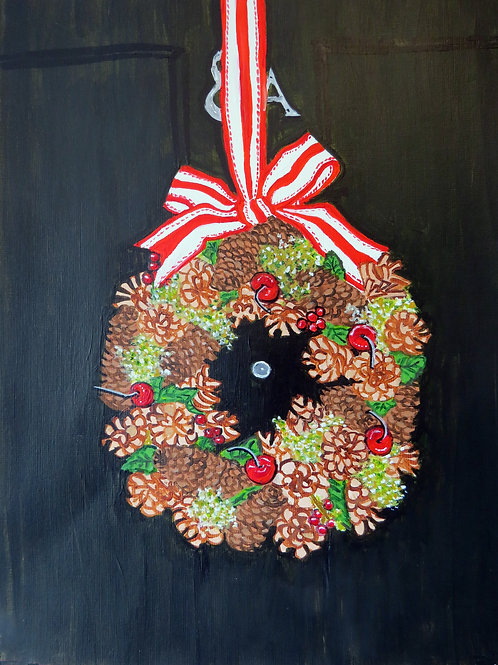 Candy Cane ribbon Christmas Wreath