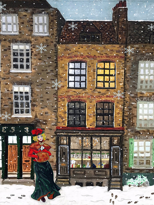 Town House, Spitalfields - Victorian Lady - A5 fine art Christmas card