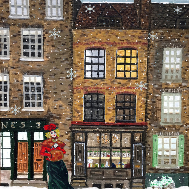 Town House Window - Victorian lady Christmas card