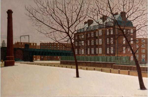 Grand Union Canal in Wintertime, Stepney, 1986