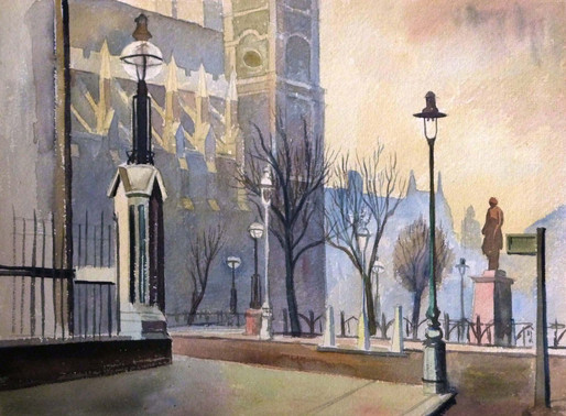 Elwin Hawthorne, East End artist        Watercolour preparation work and lino cuts