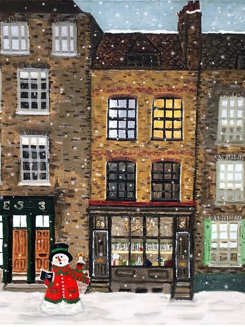 Town House & snowman - Christmas Card