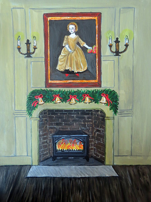Town House fireplace at Christmas