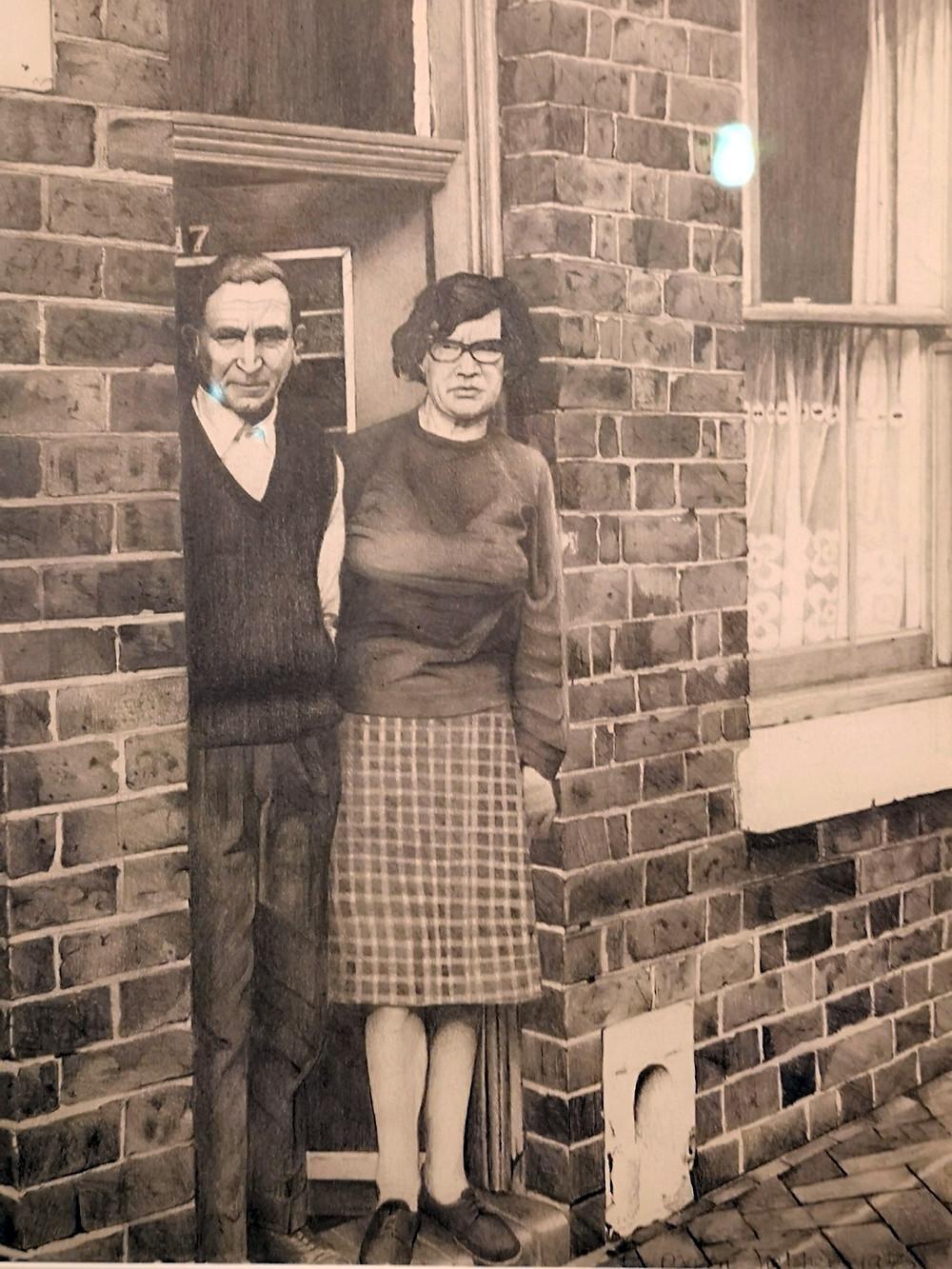 A pencil drawing of Doreen's parents